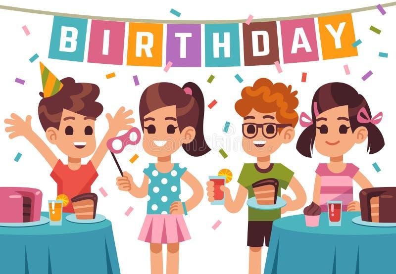 儿童生日聚会 庆祝周年的孩子 导航与动画片男孩和女孩的生日背景 皇族释放例证