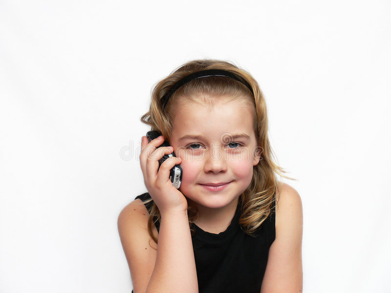 儿童电话谈话 库存图片