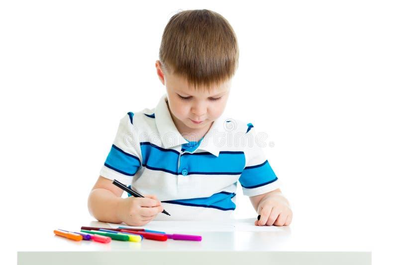 儿童由毛毡笔的男孩图画 库存照片
