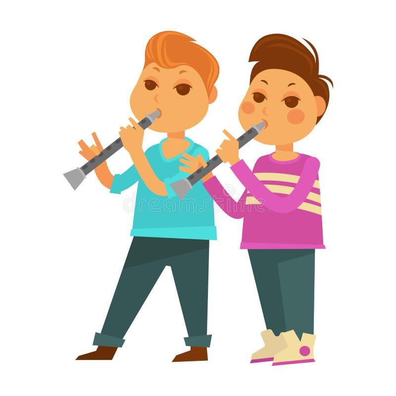 儿童男孩演奏音乐长笛活动传染媒介平的象的幼儿园或学校 库存例证
