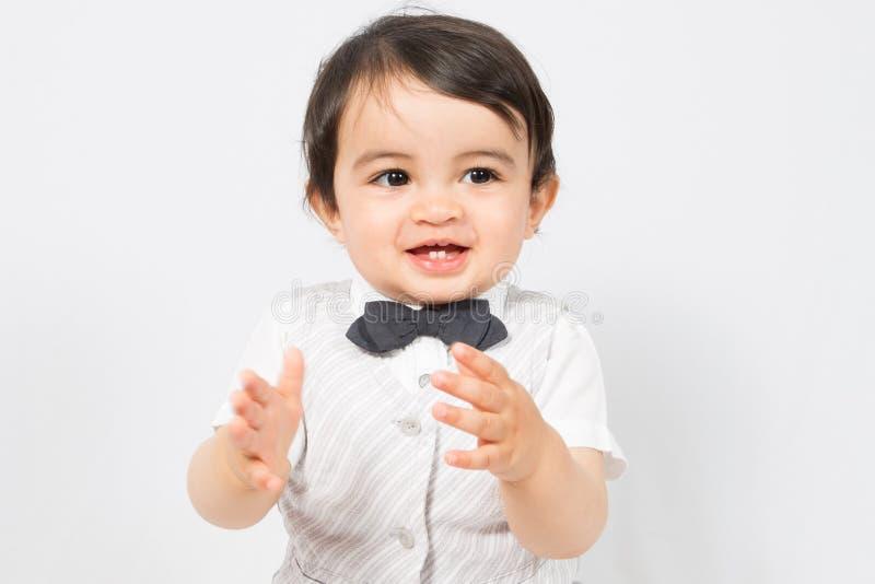 儿童男孩赞许并且赞誉愉快 库存照片