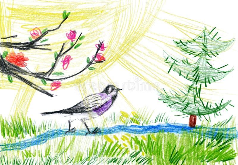 儿童画。 小鸟在森林里 免版税库存图片