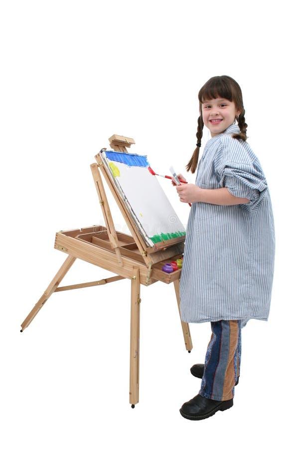 儿童画架女孩绘画 免版税图库摄影