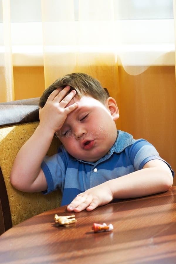 儿童病残疲倦 免版税图库摄影