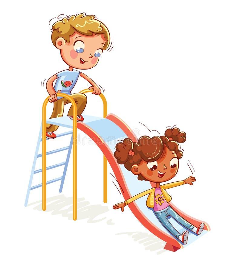 儿童的与台阶和幻灯片的娱乐复合体在休闲公园 皇族释放例证