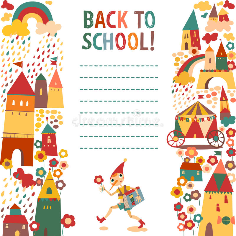 儿童的与房子和童话男孩w的学校背景 向量例证