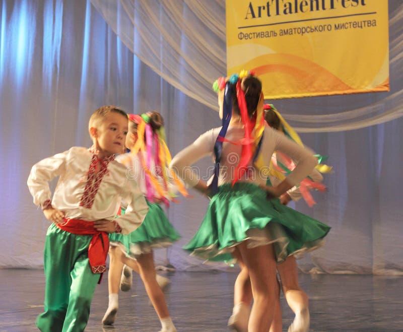 儿童的乌克兰舞蹈短上衣 免版税图库摄影