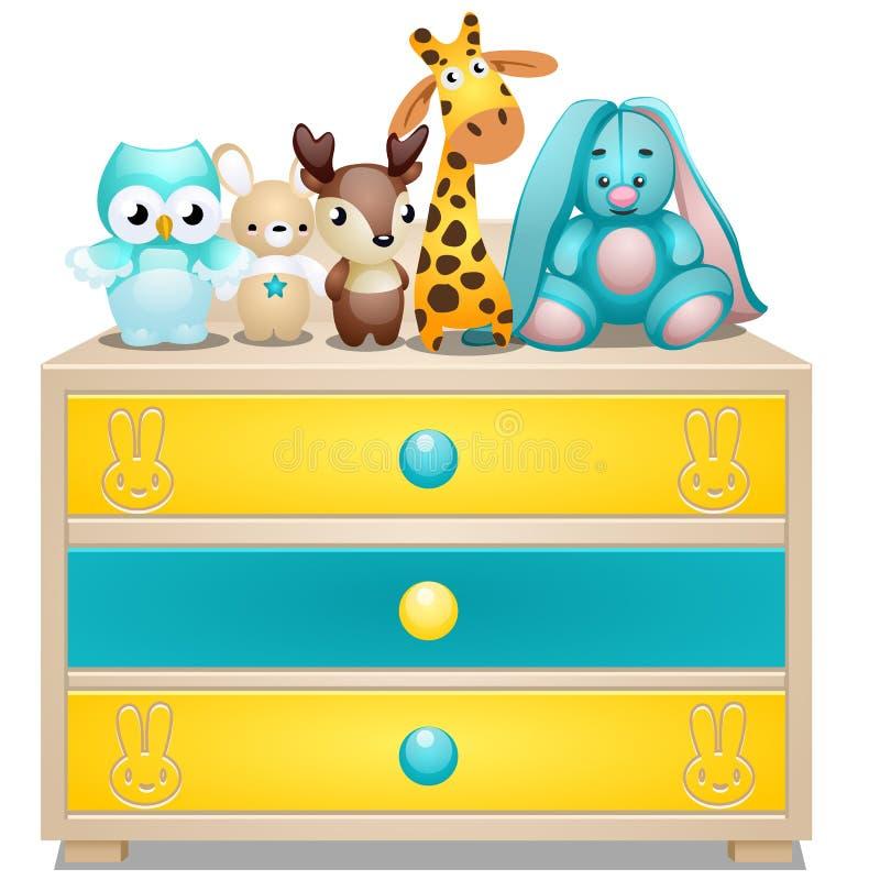 儿童的五斗橱与在白色背景隔绝的长毛绒玩具的 传染媒介动画片特写镜头例证 向量例证