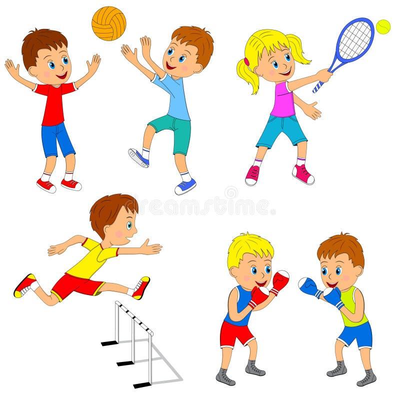 儿童的体育活动集合 库存例证