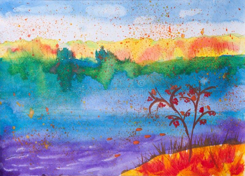 儿童的关于秋天自然的水彩图片 向量例证