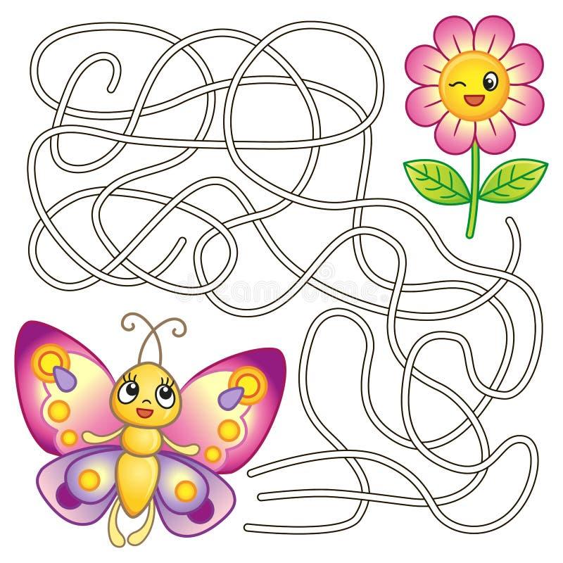 儿童的创造性的上色页 难题,孩子的迷宫比赛 发现方式 向量例证