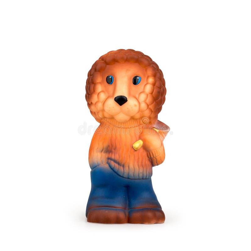 儿童的在白色背景的玩具狮子 免版税图库摄影