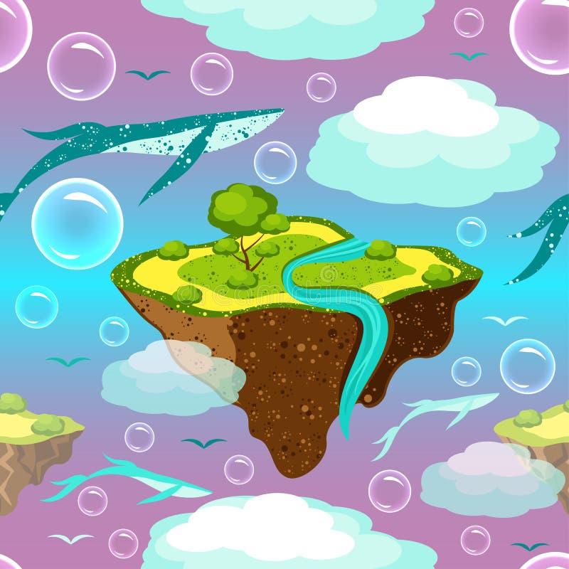 儿童的意想不到的样式 飞行的海岛和鲸鱼 海岛,鲸鱼,鸟,泡影在天空飞行或漂浮 在海岛上  向量例证