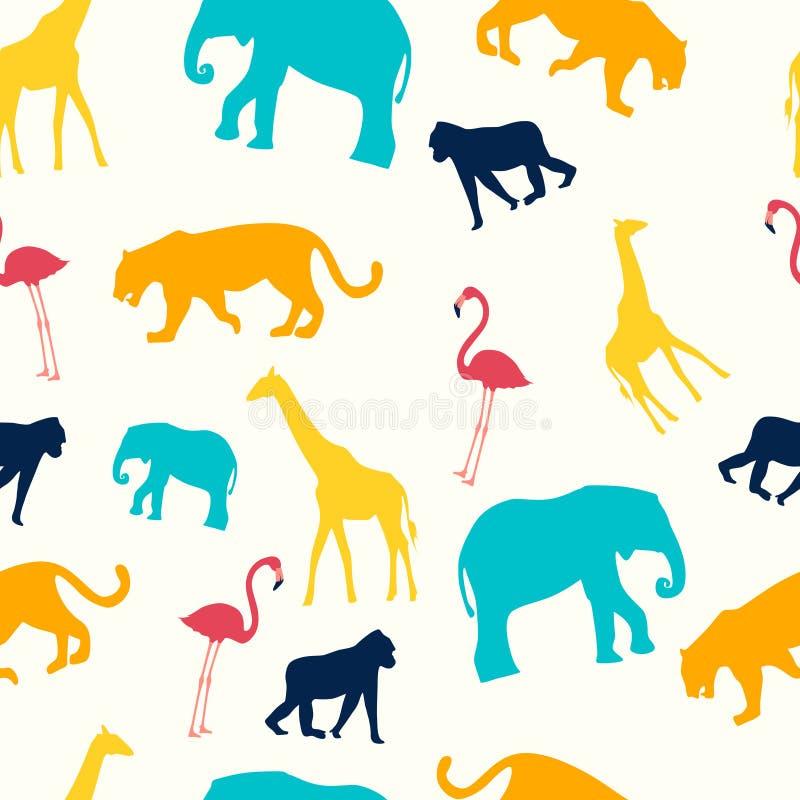 儿童的无缝的样式 动物是长颈鹿、火鸟、猴子、大象和狮子 r o 向量例证