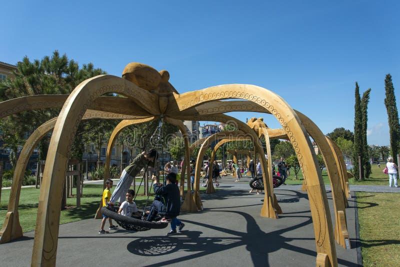 儿童的游乐场Promenade du Paillon Nice 库存照片