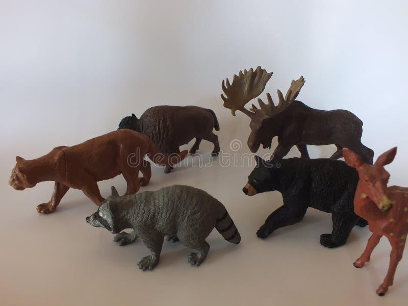 儿童的玩具动物在家 免版税图库摄影