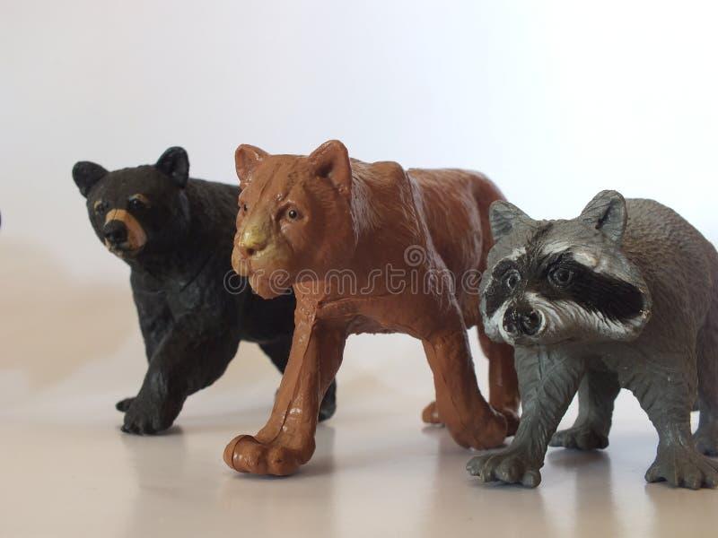 儿童的玩具动物在家 免版税库存照片