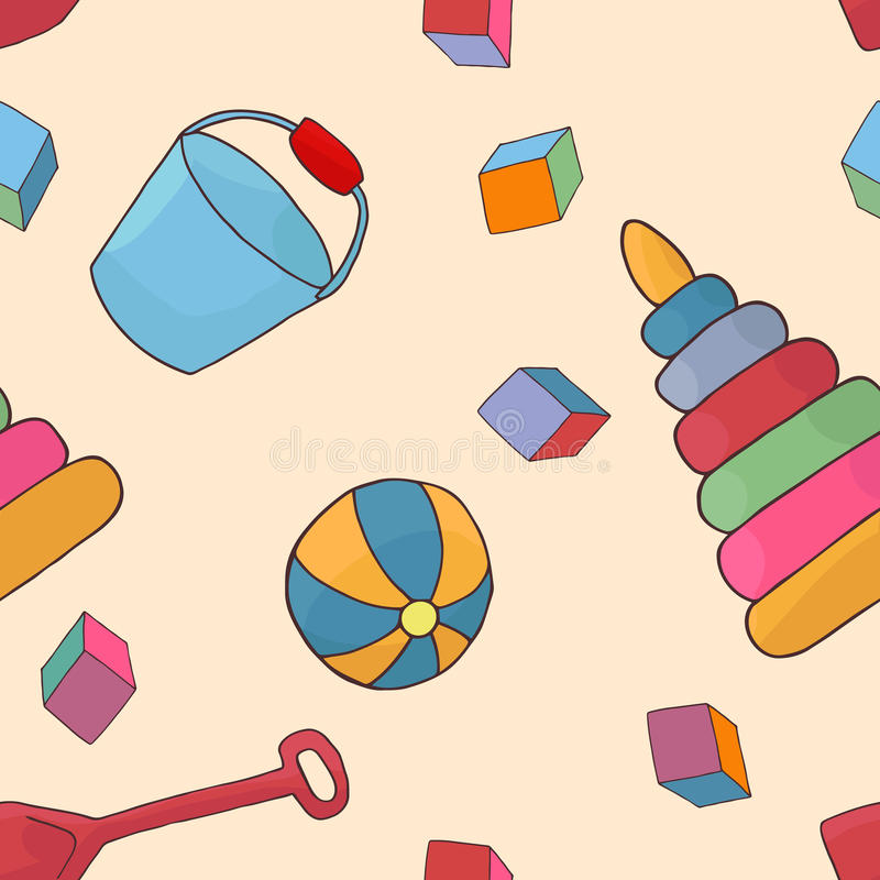 儿童的玩具的无缝的背景样式 童年传染媒介 库存例证