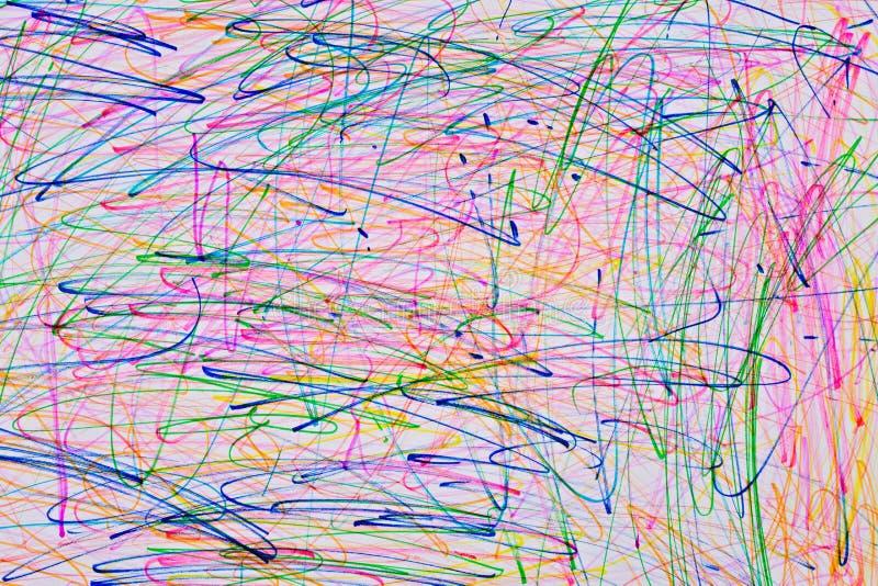 儿童的画的摘要线学龄前年龄,颜色 r 库存照片
