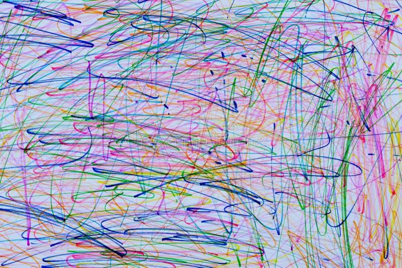 儿童的画的摘要线学龄前年龄,颜色 r 免版税库存图片