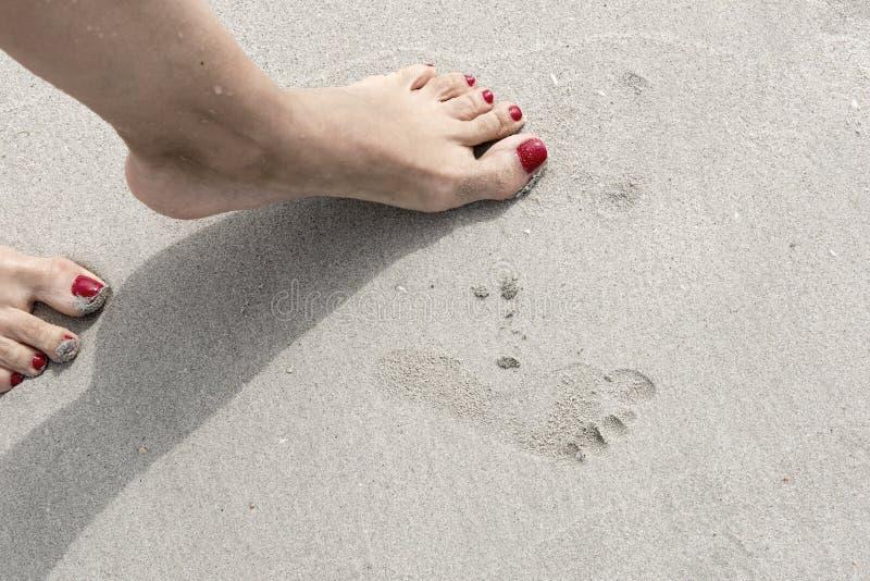 儿童的脚印的女性腿和版本记录 图库摄影