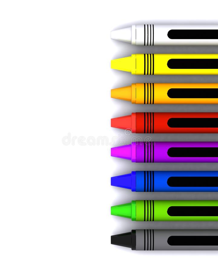 儿童的色的蜡笔蜡 向量例证