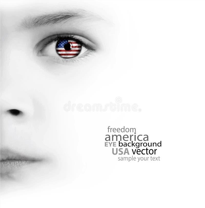 儿童的面孔、眼睛和美国国旗 免版税图库摄影