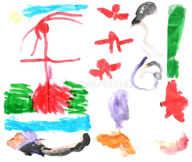 儿童的水彩绘画1 免版税库存图片