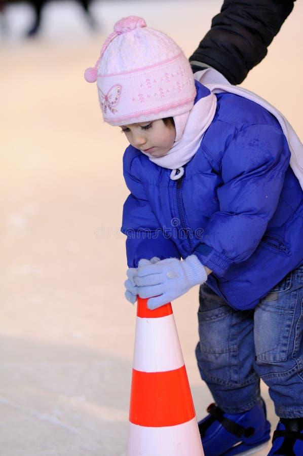 儿童相当滑冰的白色 库存图片