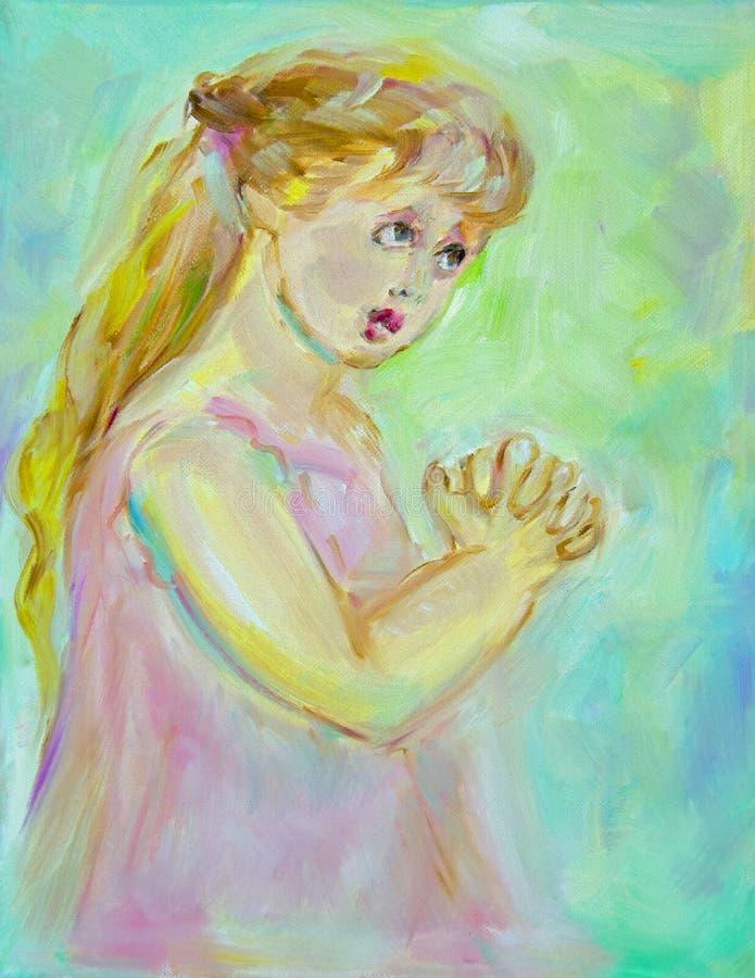 儿童祈祷 皇族释放例证