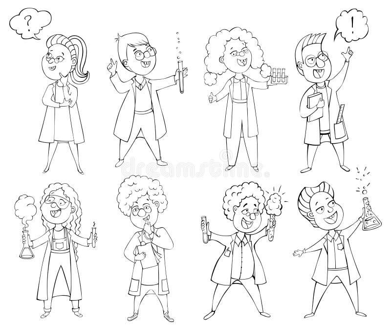 儿童科学家被设置 漫画人物儿童五颜六色的图象例证 查出的要素 向量例证