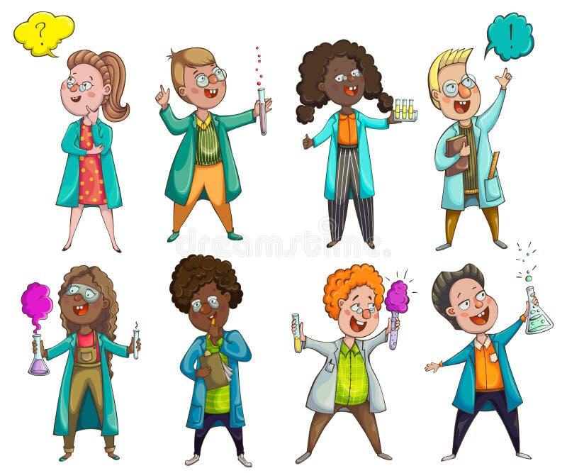 儿童科学家被设置 漫画人物儿童五颜六色的图象例证 库存例证
