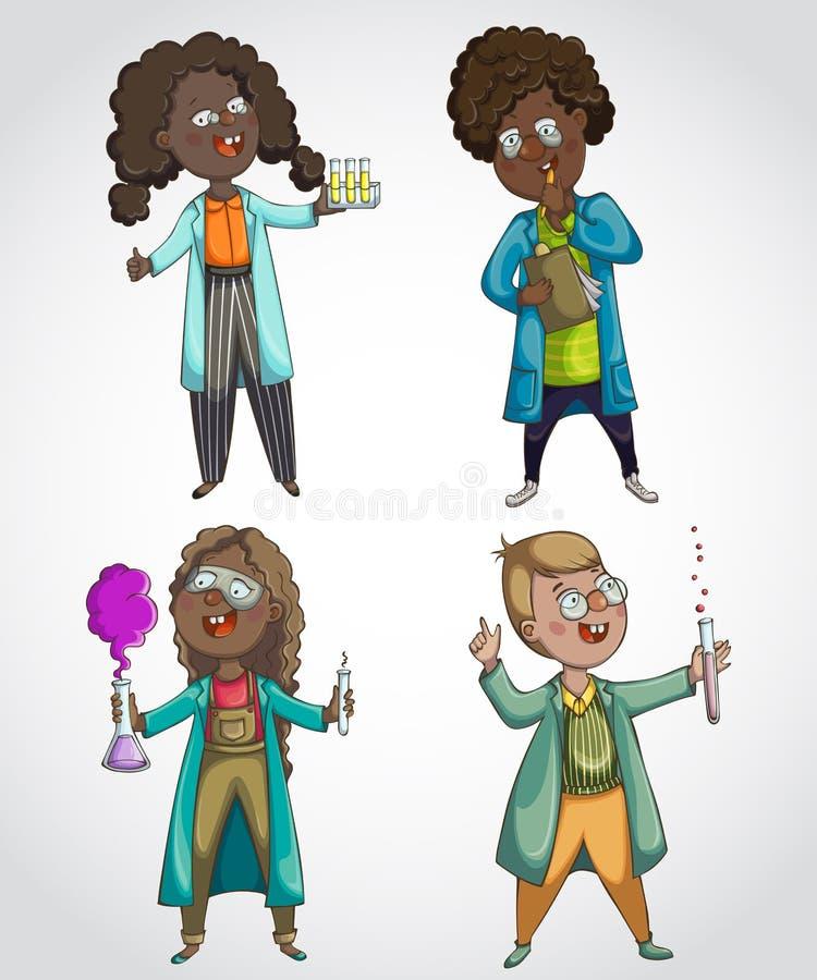 儿童科学家被设置 漫画人物儿童五颜六色的图象例证 查出的要素 皇族释放例证