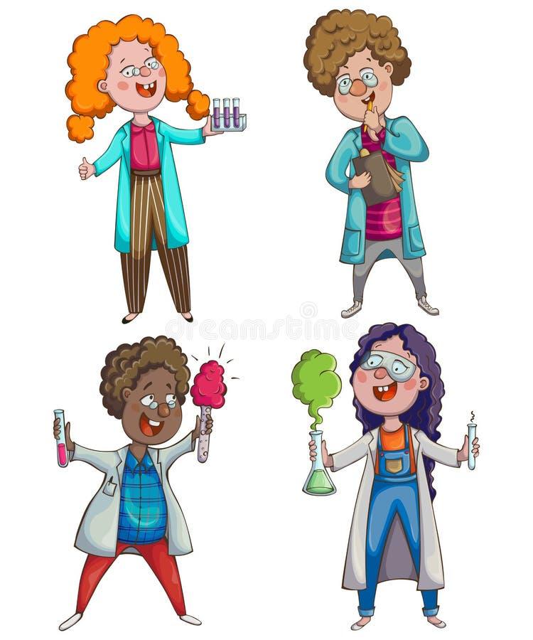 儿童科学家被设置 漫画人物儿童五颜六色的图象例证 向量例证