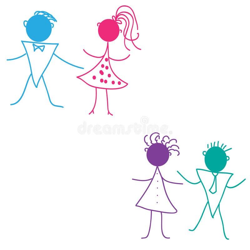 儿童等高跳舞设计剪影 皇族释放例证