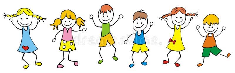 儿童等高跳舞设计剪影 向量例证