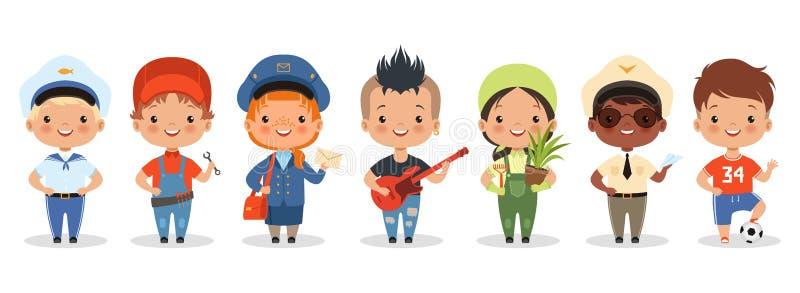 儿童职业 卡通快乐儿童不同职业的矢量角色 库存例证