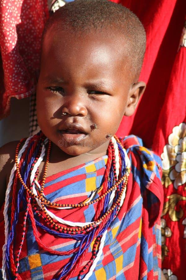儿童肯尼亚马塞语 免版税图库摄影