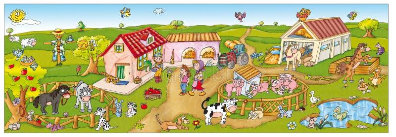 儿童胶粘剂,有许多动物的一个快乐的农场 免版税库存照片