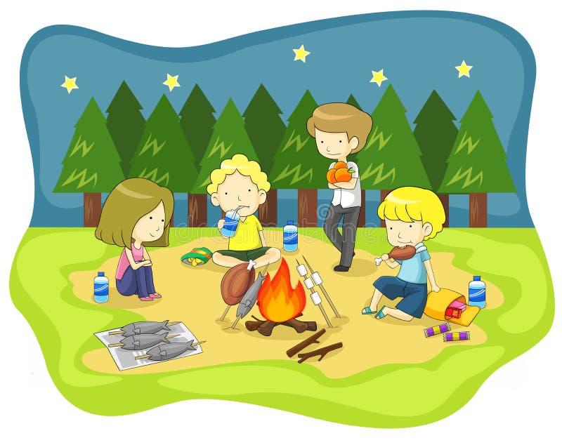 儿童营火在原野在晚上 向量例证