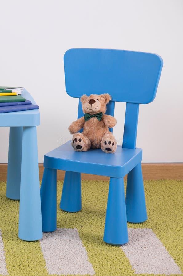 儿童蓝色桌集合 免版税库存照片