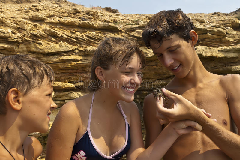 儿童螃蟹 库存照片