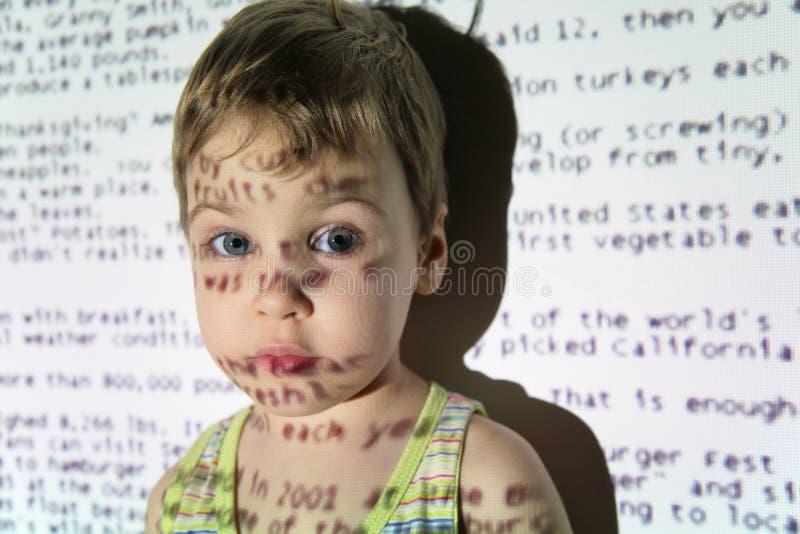 儿童设备投影文本 库存图片