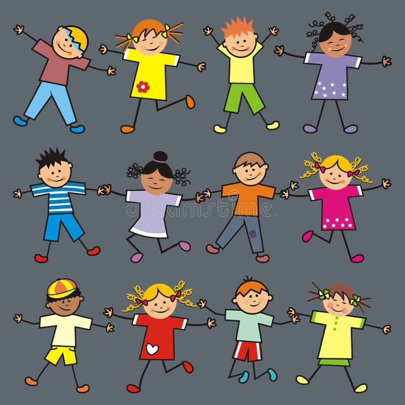 儿童跳 向量例证