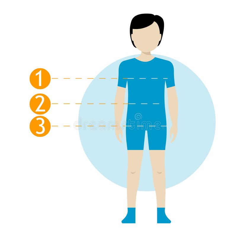 儿童身体测量图 缝合的衣裳的计划测量人体 女孩和男孩图内衣的,游泳衣 te 皇族释放例证