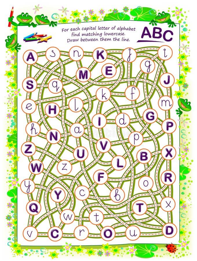 儿童逻辑游戏 对于字母表的每个大写字母查找匹配小写 在线条之间画 向量例证