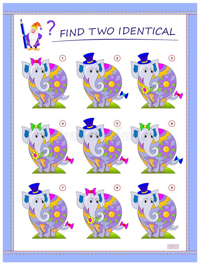 儿童逻辑游戏 需要找到两头一模一样的大象 儿童教育页 智商训练测试 皇族释放例证