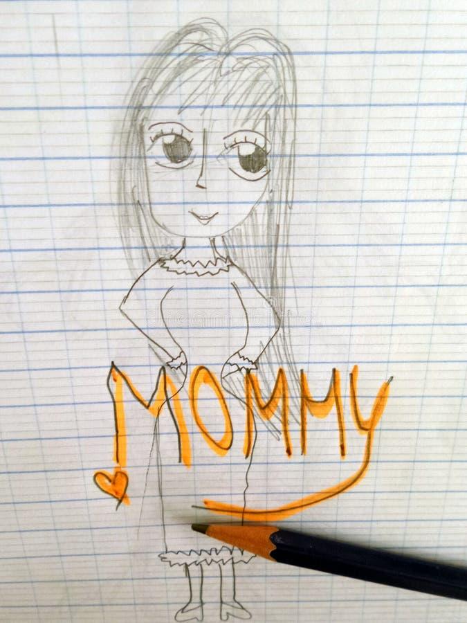 儿童铅笔图他们的belove母亲 免版税库存照片