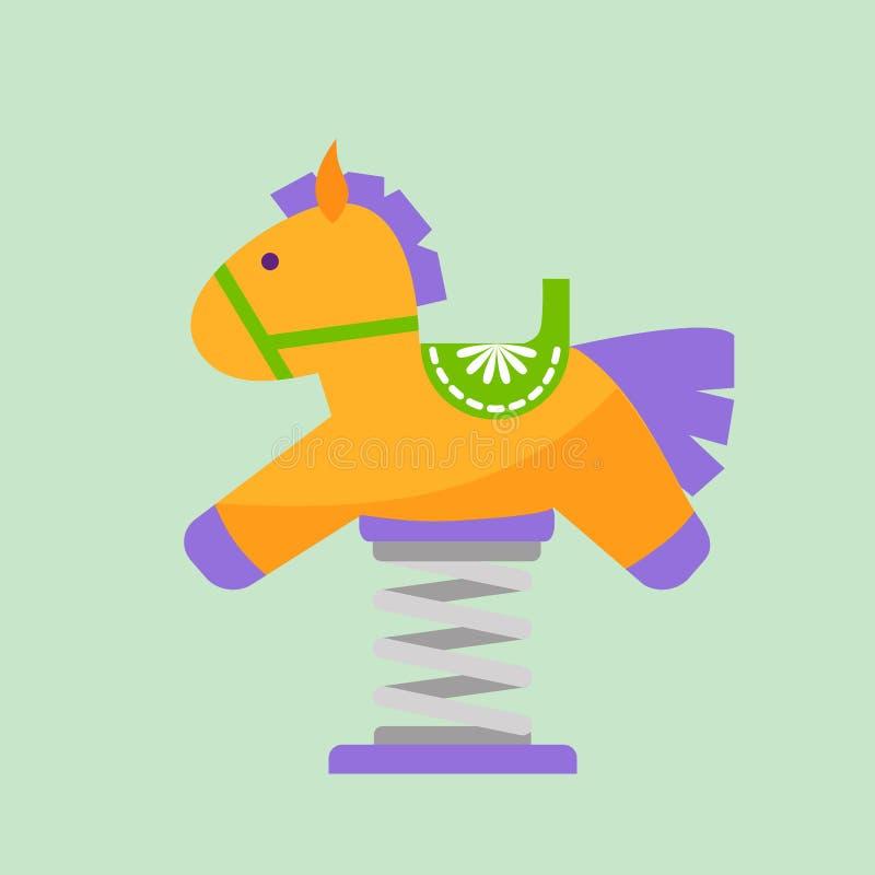 儿童马操场乐趣童年戏剧公园活动地方休闲摇摆设备玩具幼儿园娱乐 皇族释放例证