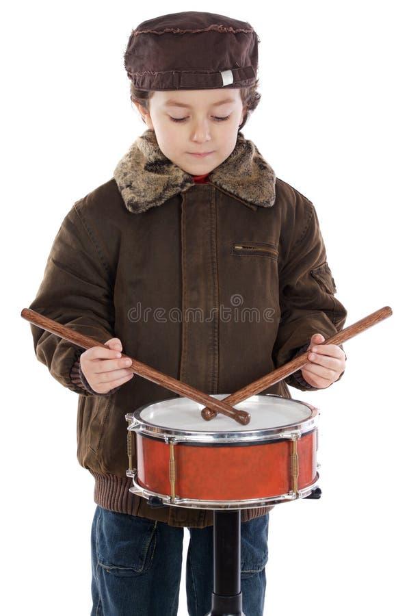 儿童鼓使用 免版税图库摄影